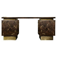 Baraka Desk with Aged Brushed Brass and Casted Brass Details