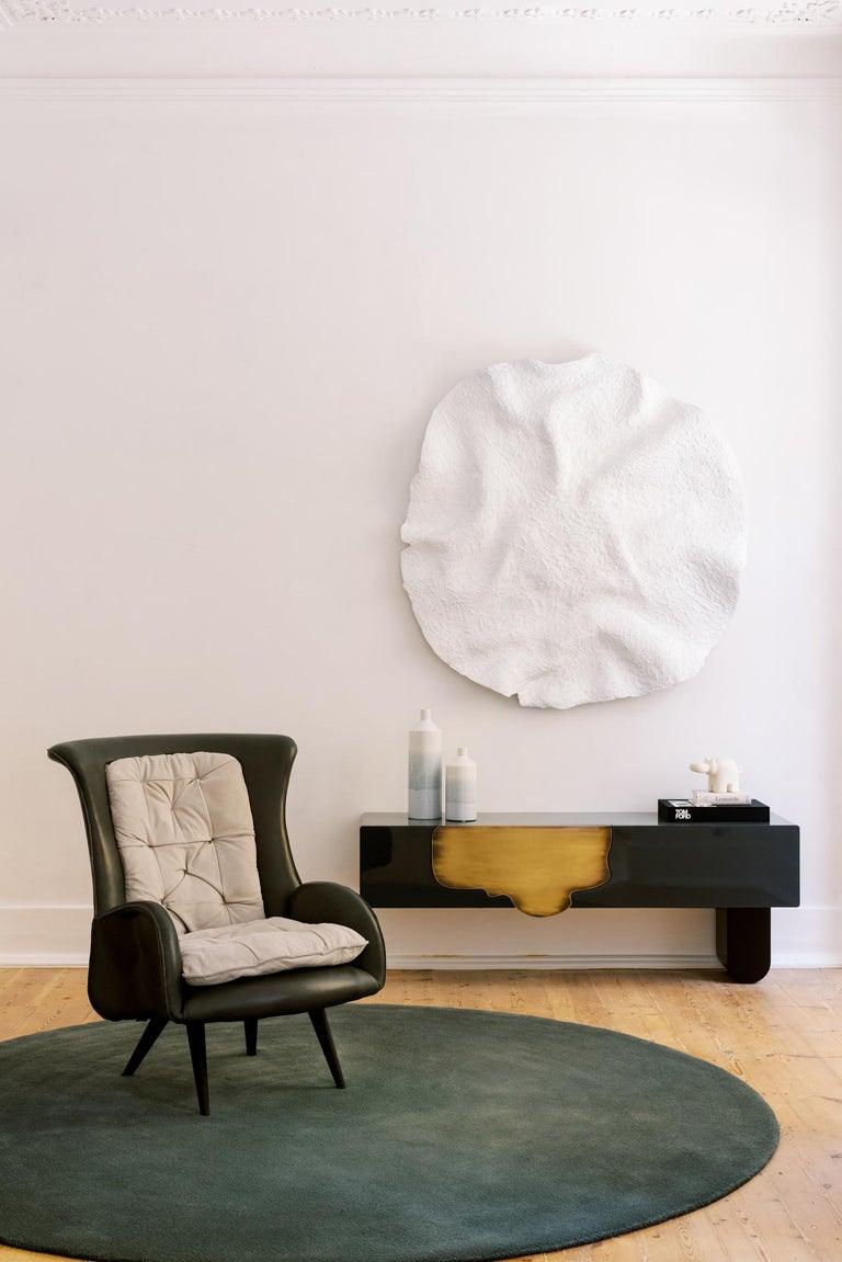 Barão Armchair Dark Green Leather Grey Nubuck Leather Beech Dark Brown Stain For Sale 5