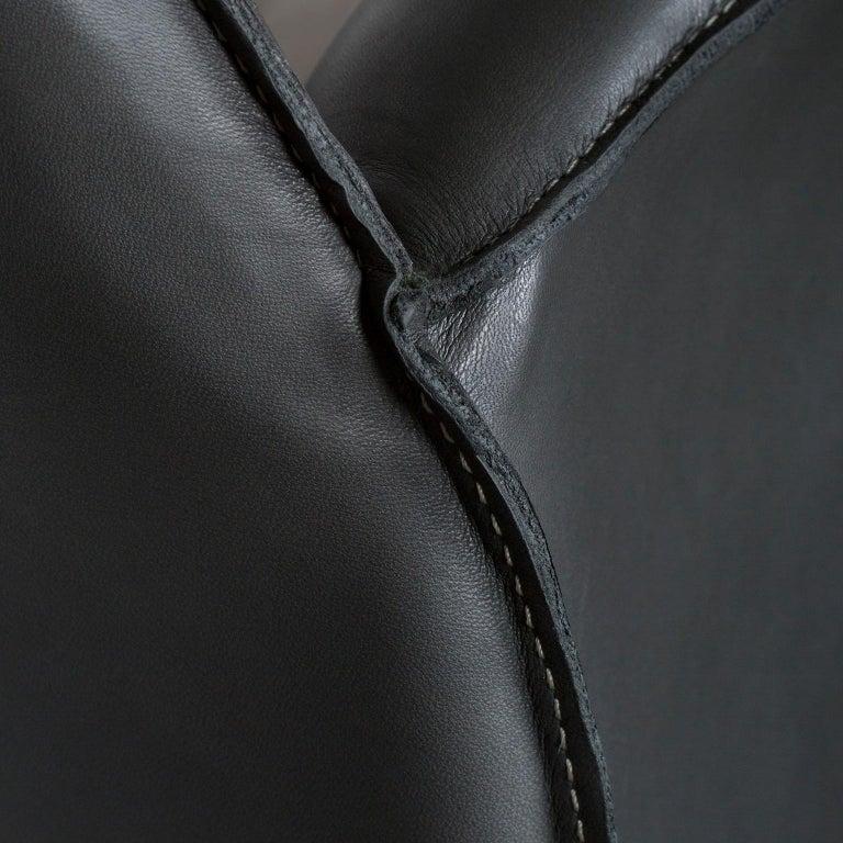 Hand-Crafted Barão Armchair Dark Green Leather Grey Nubuck Leather Beech Dark Brown Stain For Sale