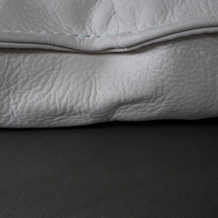 Barão Armchair Dark Green Leather Grey Nubuck Leather Beech Dark Brown Stain For Sale 1