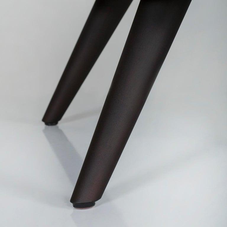Barão Armchair Dark Green Leather Grey Nubuck Leather Beech Dark Brown Stain For Sale 2