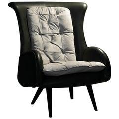 Barão Armchair Dark Green Leather Grey Nubuck Leather Beech Dark Brown Stain