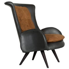 21st Century Barão Armchair Beech Wood Premium Italian Leather Nubuck Leather
