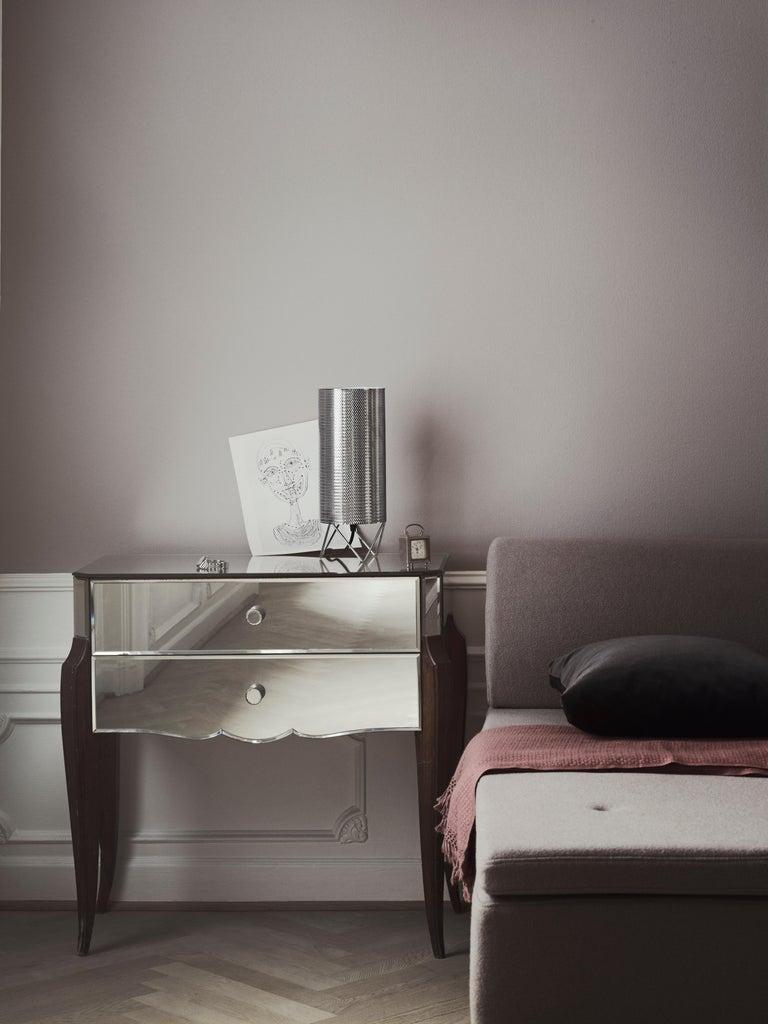 Barba Corsini 'H20' table lamp in Nickela Barba Corsini 'H20' table lamp in nickel. Executed in a perforated nickelled metal shade with white interior diffuser.  Price is per item.  Barba Corsini's modern and classic design philosophy is echoed