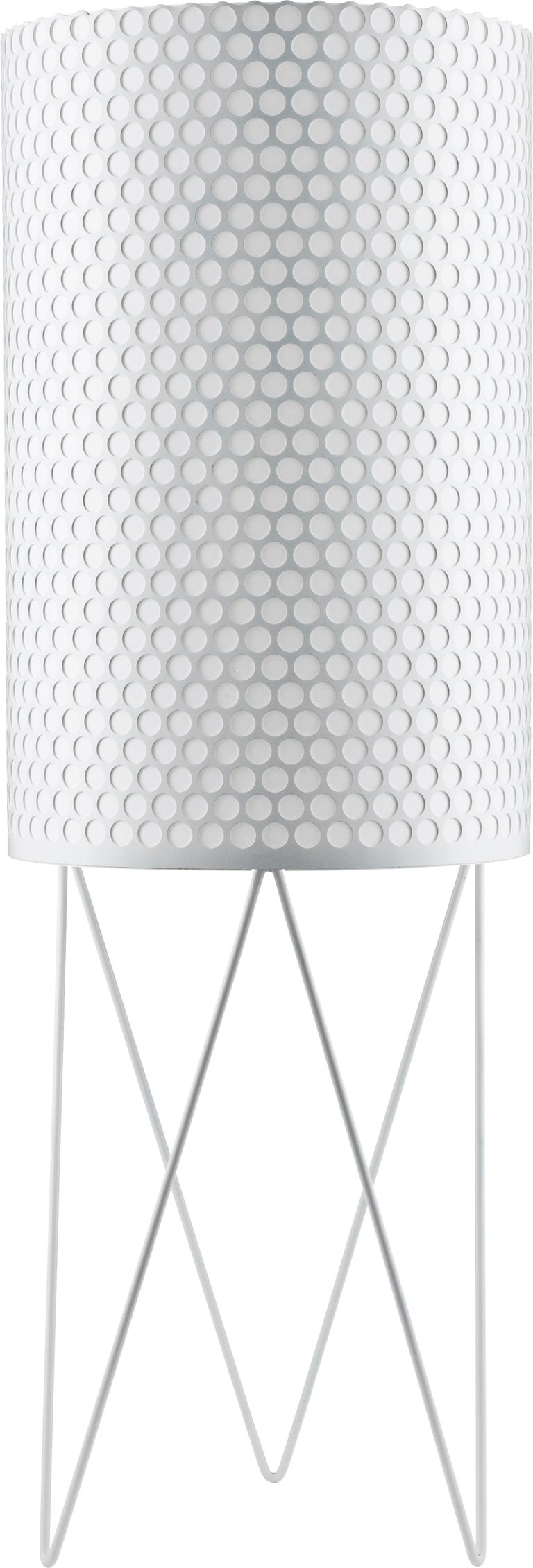 Barba Corsini 'PD2' Pedrera floor lamp in black. Executed in a black painted perforated metal shade with white interior diffuser.