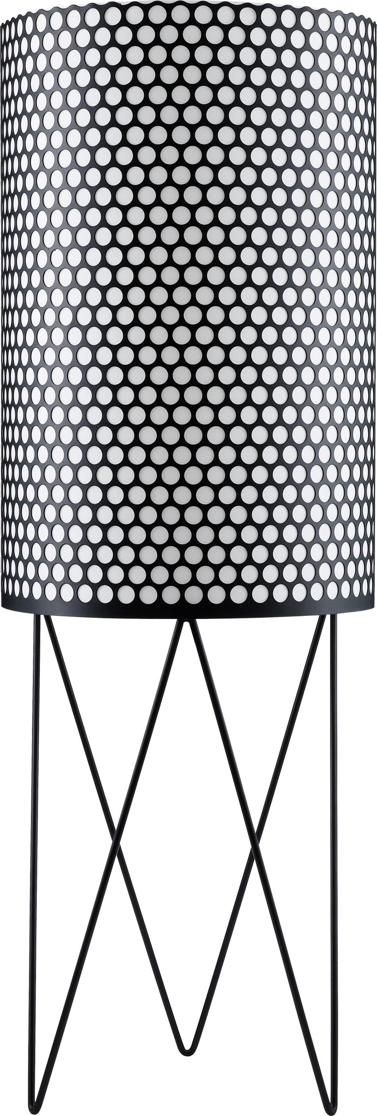 Barba Corsini 'PD2' Pedrera floor lamp in white. Executed in a matte white painted perforated metal shade with white interior diffuser.  Price is per item. Each finish includes a matching cord.  The PD2 floor lamp is designed in 1955 by Barba