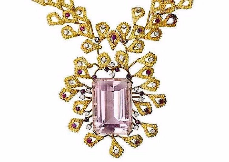 Emerald Cut Barbara Anton Necklace Gold, Kunzite, Ruby, Diamonds Vintage, circa 1970 For Sale