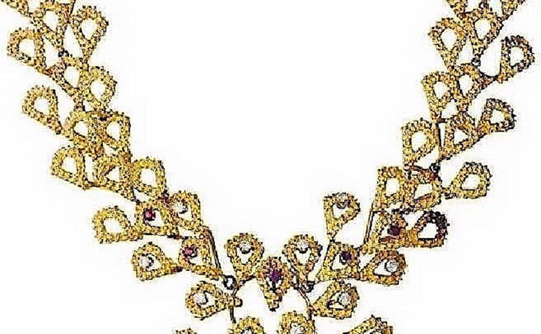 Barbara Anton Necklace Gold, Kunzite, Ruby, Diamonds Vintage, circa 1970 In Good Condition For Sale In Austin, TX
