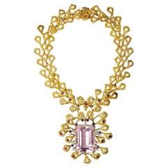 Barbara Anton Necklace Gold, Kunzite, Ruby, Diamonds Vintage, circa 1970