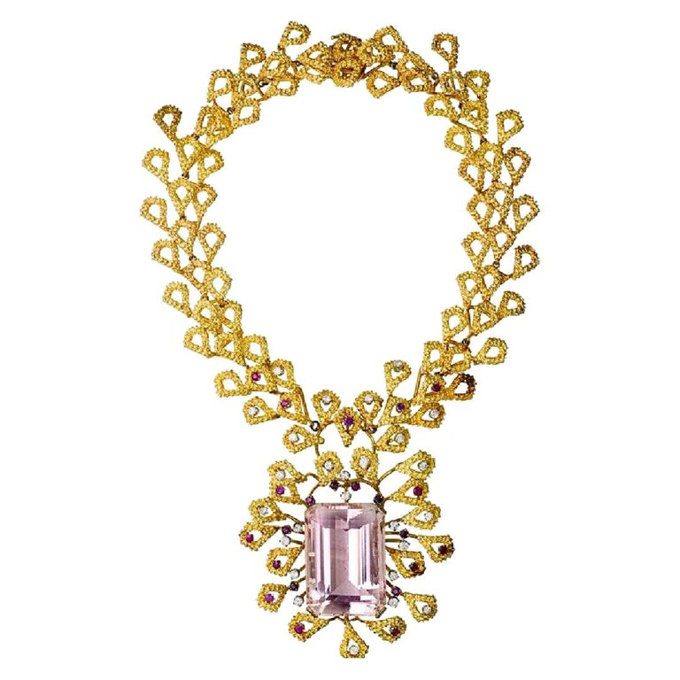 Barbara Anton Necklace Gold, Kunzite, Ruby, Diamonds Vintage, circa 1970 For Sale