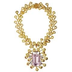 Barbara Anton Necklace Gold, Kunzite, Ruby, Diamonds Vintage circa 1970