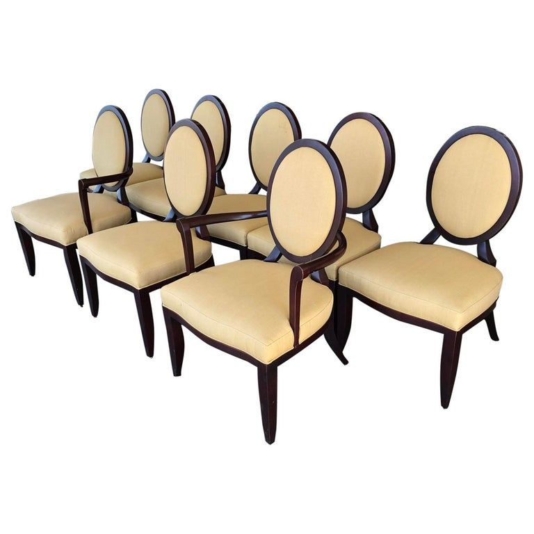 Barbara Barry Cross Back Oval Dining Chairs By Baker Furniture A Set Of 8 For