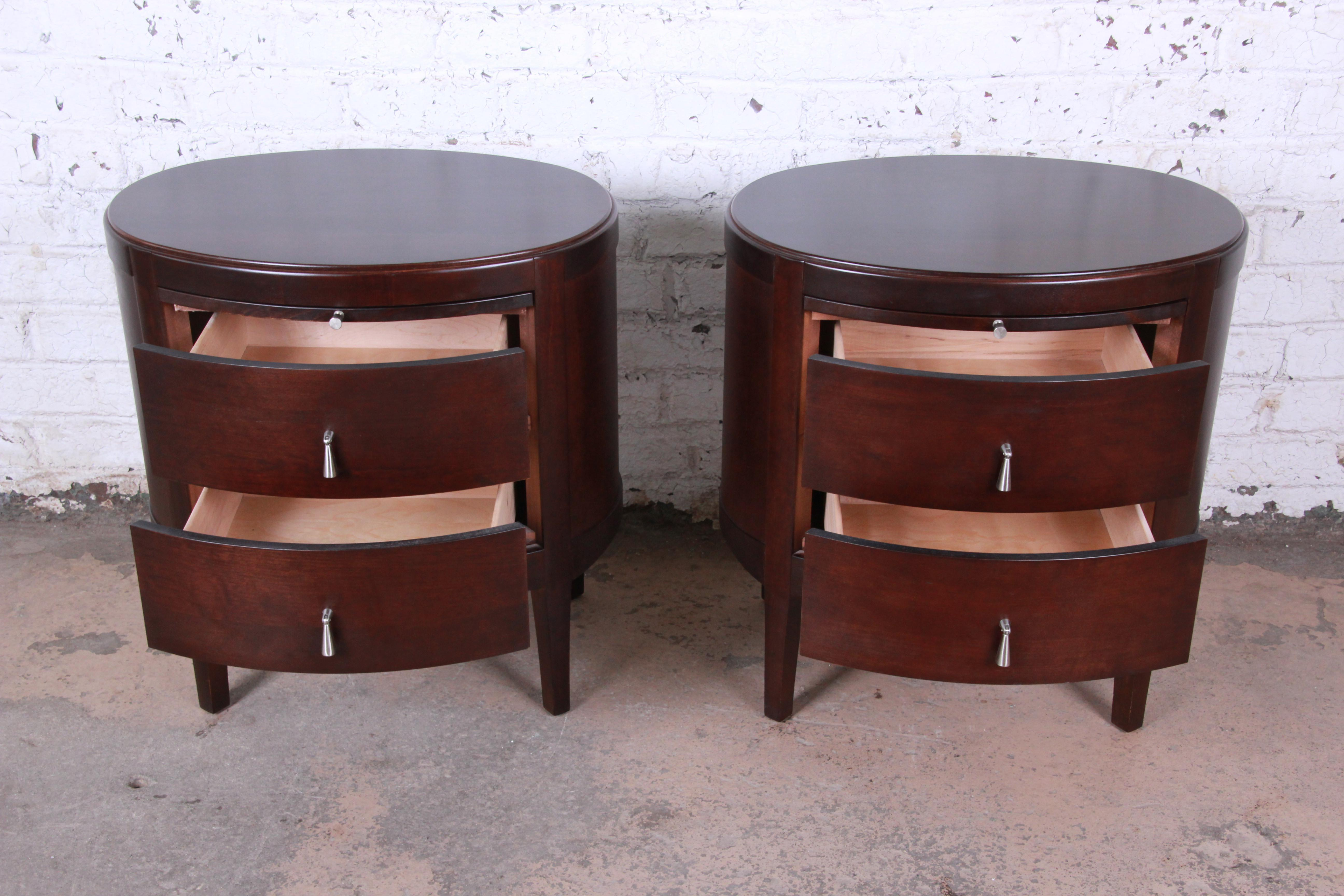 Barbara Barry Dark Mahogany Nightstands Pair At 1stdibs