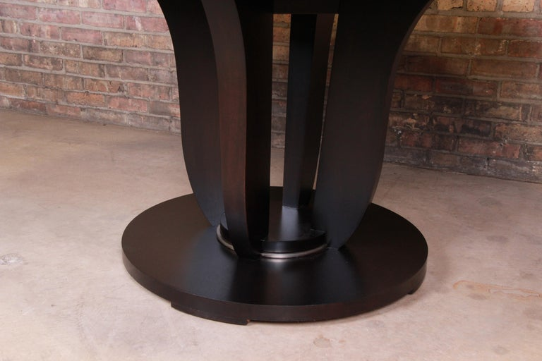 Modern Barbara Barry for Baker Dark Mahogany Round Pedestal Dining Table, Restored For Sale