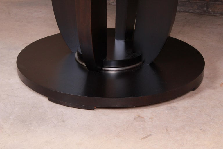 American Barbara Barry for Baker Dark Mahogany Round Pedestal Dining Table, Restored For Sale