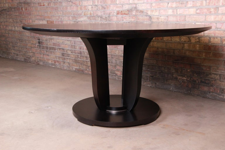 Barbara Barry for Baker Dark Mahogany Round Pedestal Dining Table, Restored In Good Condition For Sale In South Bend, IN