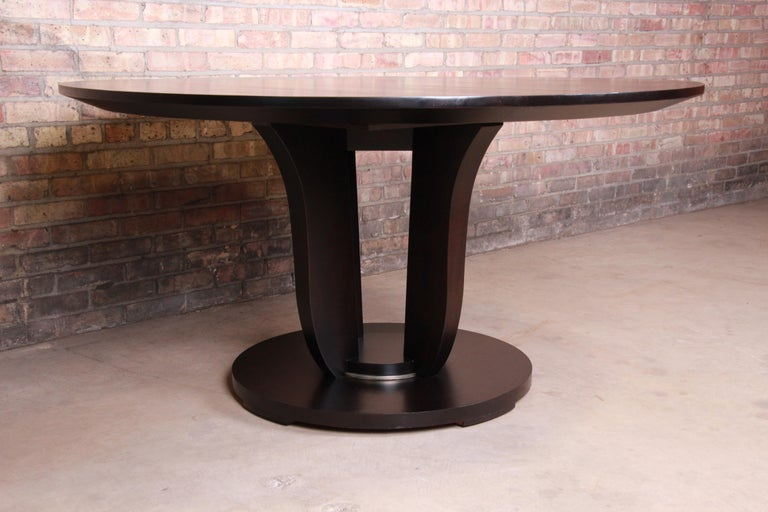 20th Century Barbara Barry for Baker Dark Mahogany Round Pedestal Dining Table, Restored For Sale