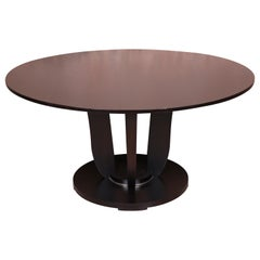 Barbara Barry for Baker Dark Mahogany Round Pedestal Dining Table, Restored