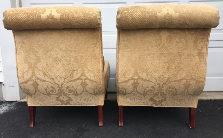 20th Century Barbara Barry for Baker Furniture Damask Slipper Chairs, Pair For Sale