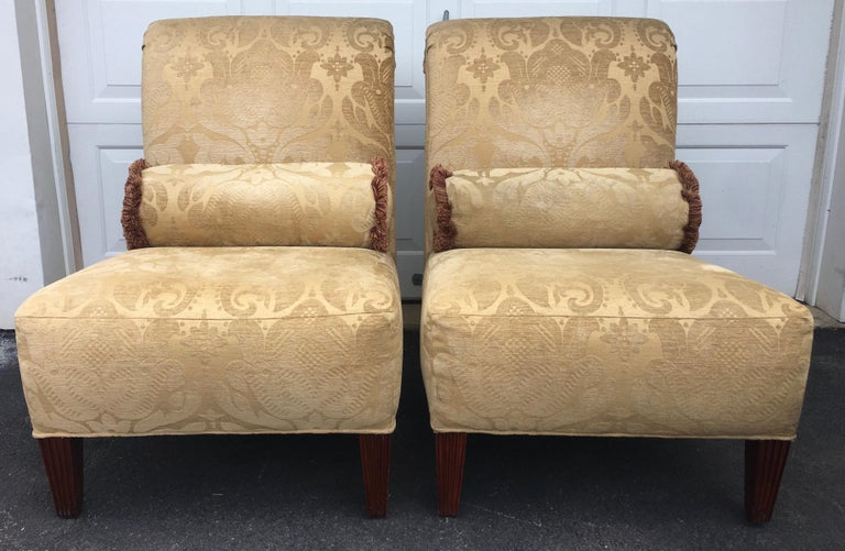 Barbara Barry for Baker Furniture Damask Slipper Chairs, Pair For Sale 2