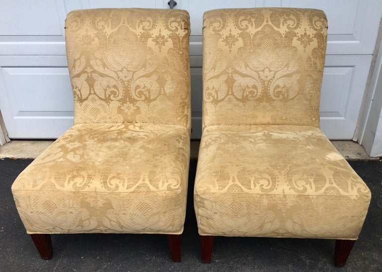 Barbara Barry for Baker Furniture Damask Slipper Chairs, Pair For Sale 3