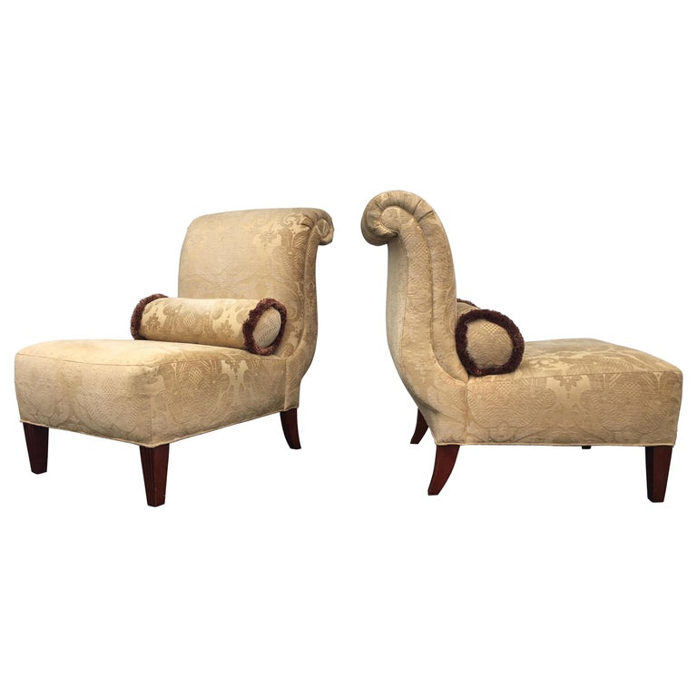 Barbara Barry for Baker Furniture Damask Slipper Chairs, Pair For Sale