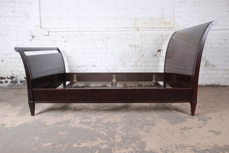 Late 20th Century Barbara Barry for Baker Furniture Dark Mahogany Queen Sleigh Bed For Sale