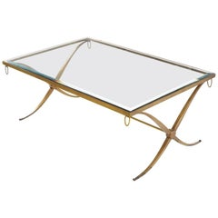 Barbara Barry For Baker Furniture Gilt Wrought Iron X Base Regency Coffee Table