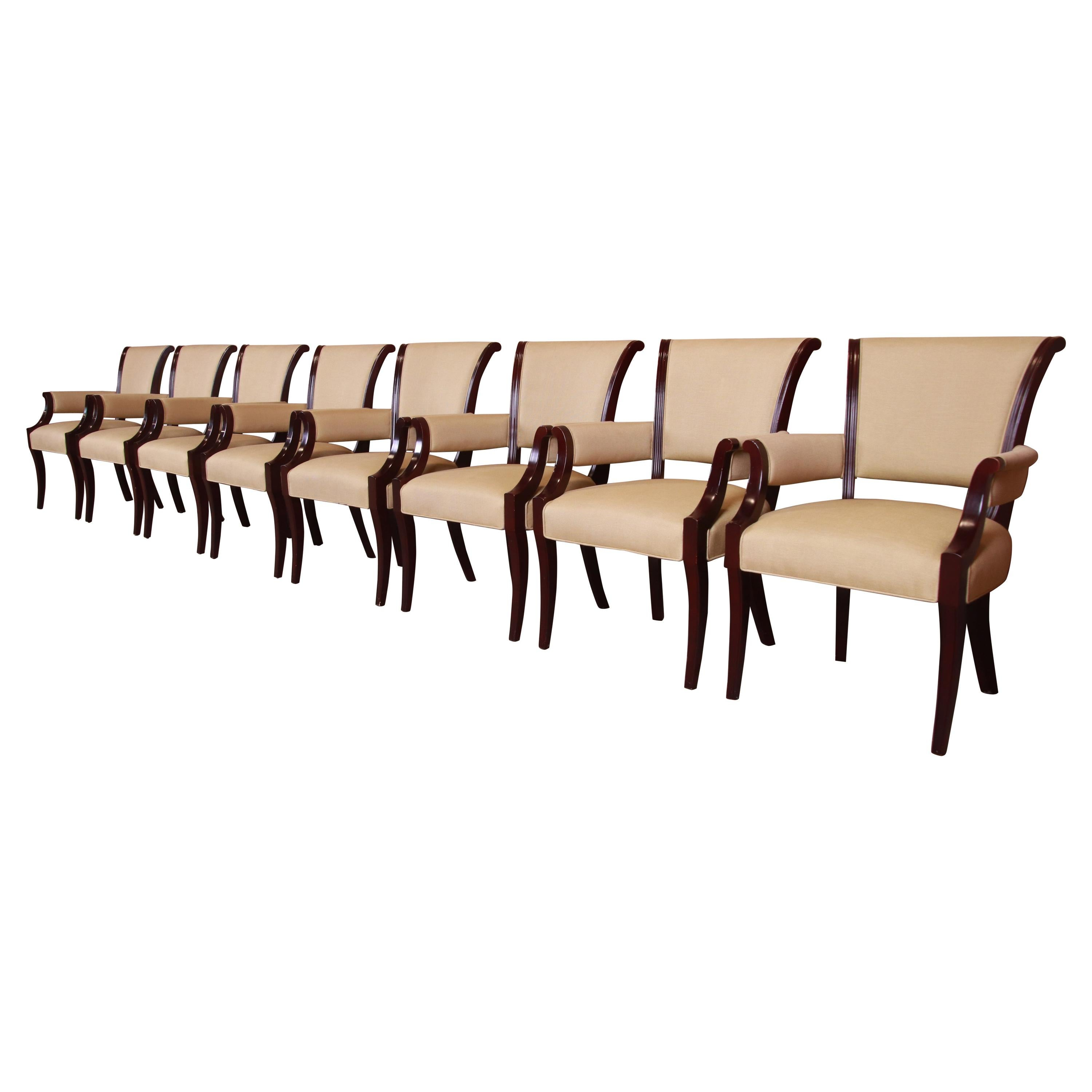 Barbara Barry for Baker Furniture Mahogany Dining Armchairs, Set of Eight