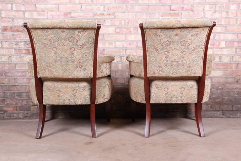 Barbara Barry for Baker Furniture Modern Upholstered Lounge Chairs, Pair For Sale 4
