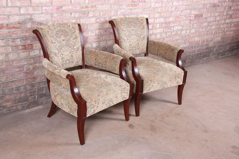 20th Century Barbara Barry for Baker Furniture Modern Upholstered Lounge Chairs, Pair For Sale