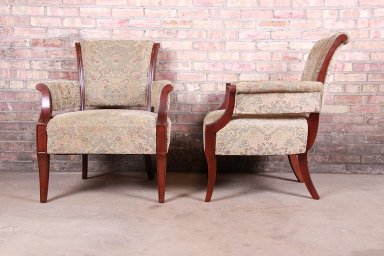 Upholstery Barbara Barry for Baker Furniture Modern Upholstered Lounge Chairs, Pair For Sale