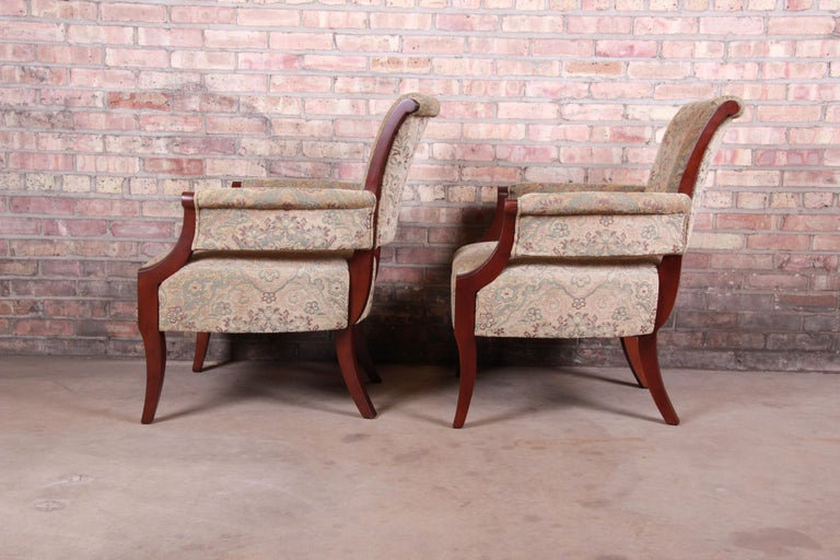 Barbara Barry for Baker Furniture Modern Upholstered Lounge Chairs, Pair For Sale 1