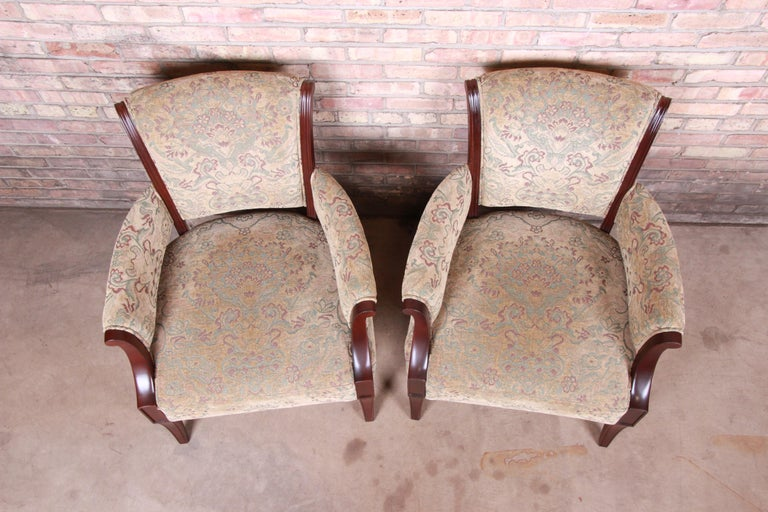 Barbara Barry for Baker Furniture Modern Upholstered Lounge Chairs, Pair For Sale 2