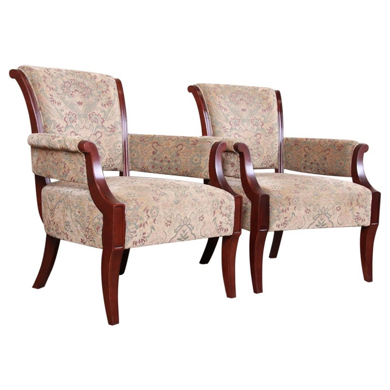 Barbara Barry for Baker Furniture Modern Upholstered Lounge Chairs, Pair For Sale