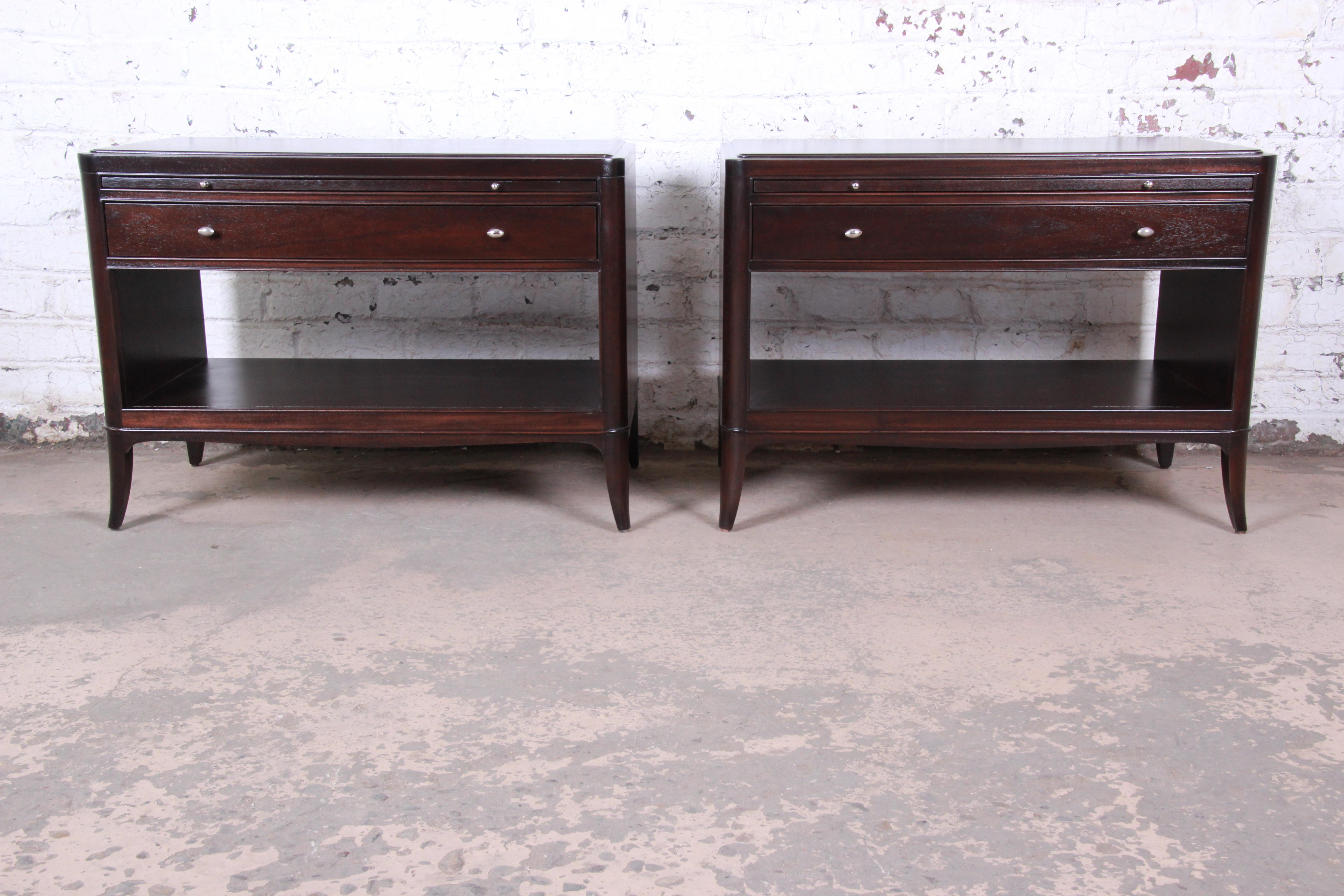 Barbara Barry For Baker Furniture Oversized Mahogany Nightstands Newly Restored