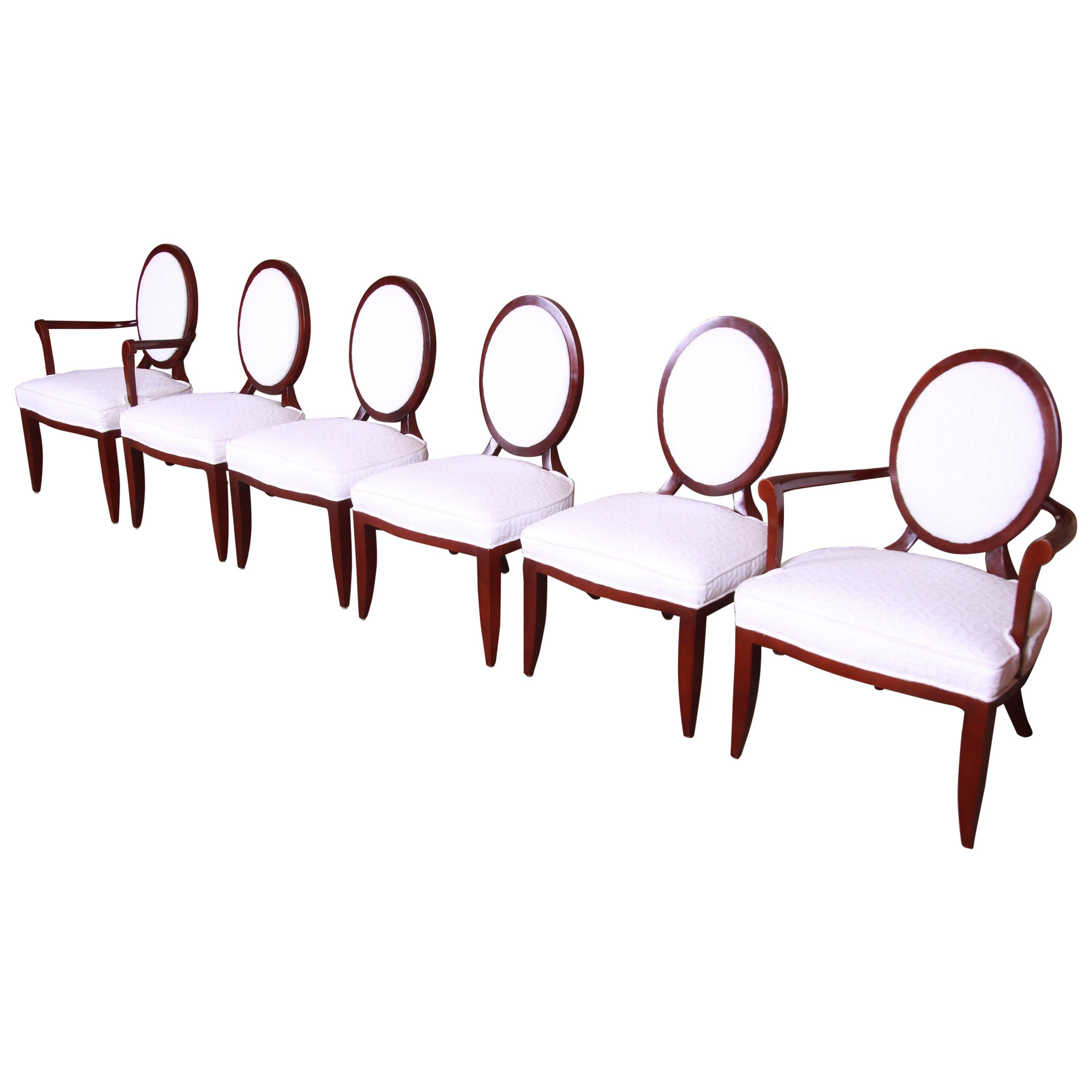 Barbara Barry for Baker Modern Mahogany and Upholstered Dining Chairs, Set of 6