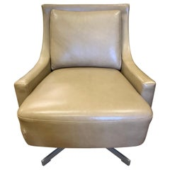 Barbara Barry for HBF Midcentury Style Leather Swivel Chair Low Profile
