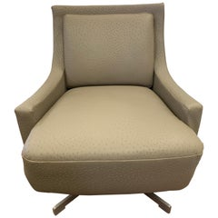 Barbara Barry for HBF Newly Upholstered in Donghia Leather Swivel Chair
