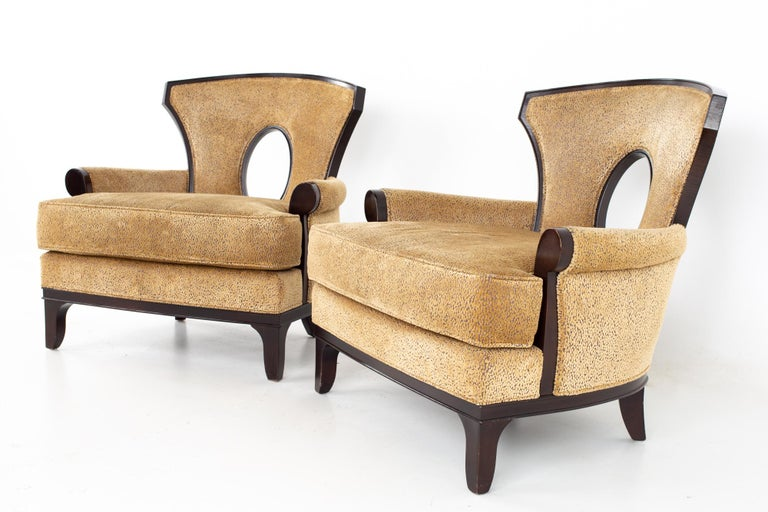 Barbara Barry for Henredon Modern lounge chair - A pair Chair measures: 34.25 wide x 34.75 deep x 34 high, with a seat height of 18.25 inches  All pieces of furniture can be had in what we call restored vintage condition. That means the piece is