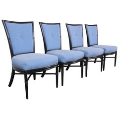 Barbara Barry for McGuire Rattan Upholstered Dining Chairs, Set of Four