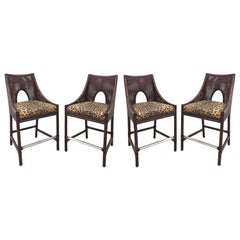 Barbara Barry Reed and Leather Counter Bar stools, Set of 4