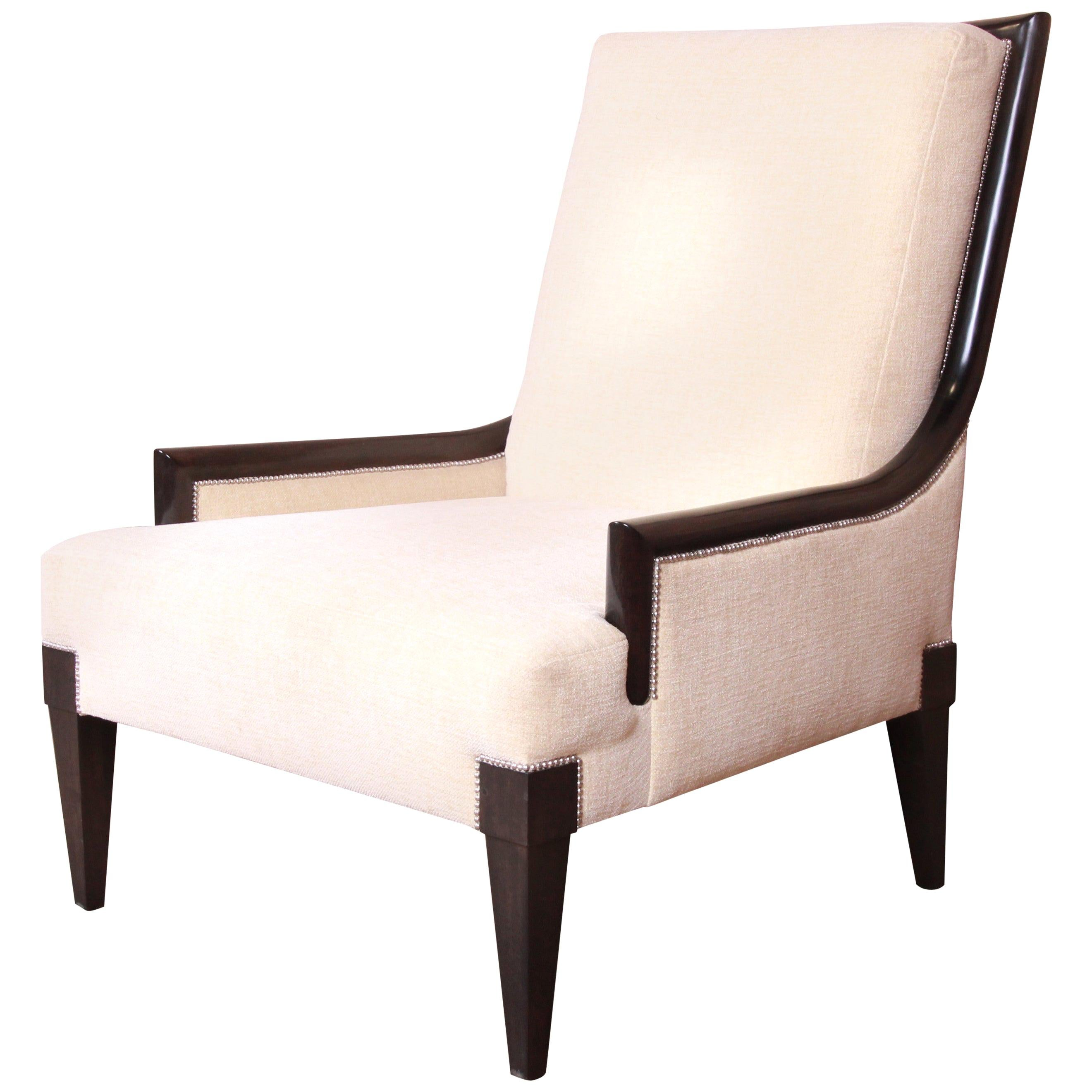 Barbara Barry Style Modern Mahogany Upholstered Lounge Chair by William Switzer