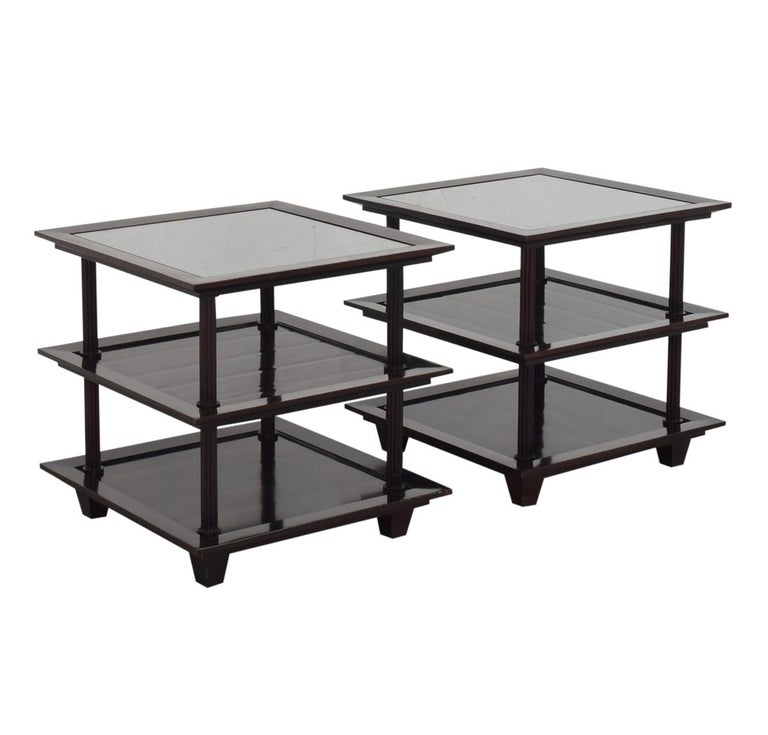 Modern Barbara Berry for Baker Furniture Company, Three-Tiered Mahogany Side End Tables For Sale