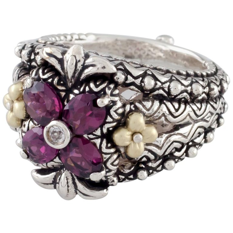 Barbara Bixby Sterling Silver 18 Karat Gold Ring Rhodolite Garnet Floret For Sale