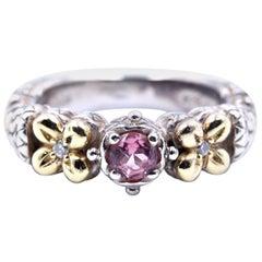 Barbara Bixby Sterling Silver and 18 Karat Yellow Gold Rose Quartz Ring