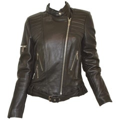 Barbara Bui Black Lambskin Leather Moto Jacket