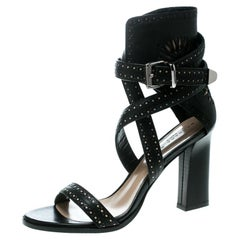 Barbara Bui Black Laser Cut Motif Leather Ankle Strappy Block Sandals Size 41