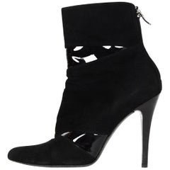 Barbara Bui Black Suede/Patent Leather High Heel Ankle Boot Sz 40