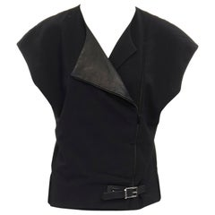 BARBARA BUI black wool asymmetric leather biker collar sleeveless boxy vest FR36
